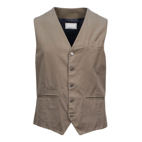 Mens Cotton Waistcoat Vest // Brown