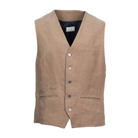 Brunello Cucinelli // Men's Linen Waistcoat Vest // Brown (Euro: 48)