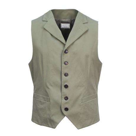 Brunello Cucinelli // Men's Waistcoat Vest // Green (Euro: 48)
