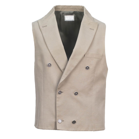 Brunello Cucinelli // Men's Double Breasted Chest-Welt Pocket Waistcoat Vest // Brown (Euro: 48)