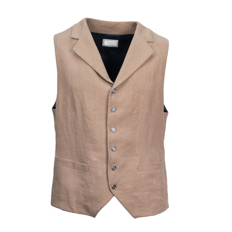 Mens Jetted-Pocket Waistcoat Vest // Brown