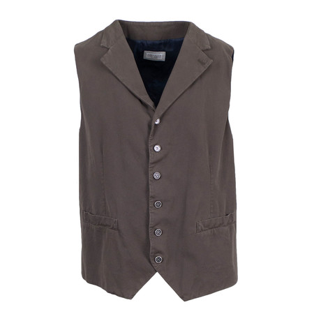 Brunello Cucinelli // Men's Notch Lapel Waistcoat Vest // Brown (Euro: 48)