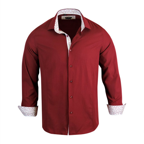 Ronny Modern Fit Long-Sleeve Dress Shirt // Burgundy (L)