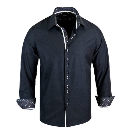 Tristan Modern Fit Long-Sleeve Dress Shirt // Black (L)