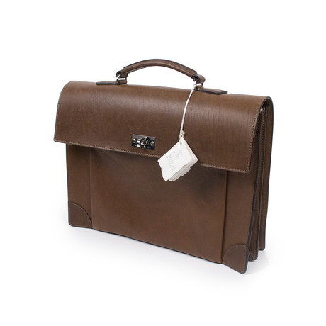 Brunello Cucinelli // Osvaldo Leather Business Briefcase Bag // Brown