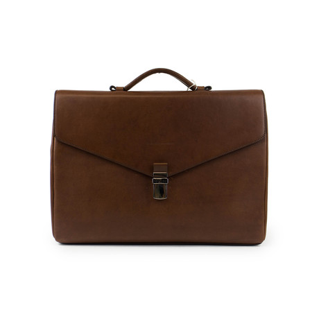 Brunello Cucinelli // Emery Leather Briefcase Bag // Brown