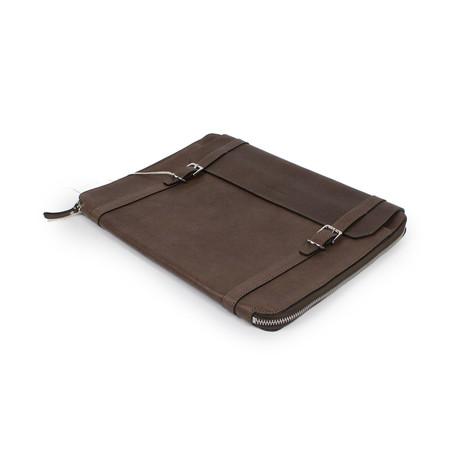 Brunello Cucinelli // Blair Leather Business Portfolio Bag // Brown