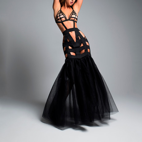 I'm Your Fantasy Mermaid Dress + Tulle Tail // Black (Small)
