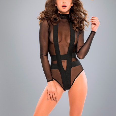 Skye Seductively Sheer + Cheeky Bodysuit // Black (Small)