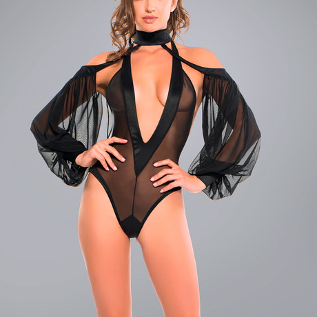 Skye Heavenly Body Plunging V-Neck Bodysuit + Dreamy Sheer Sleeves // Black (Small)