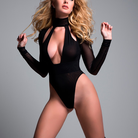 Tia Just A Kiss Sheer Bodysuit // Black (Small)