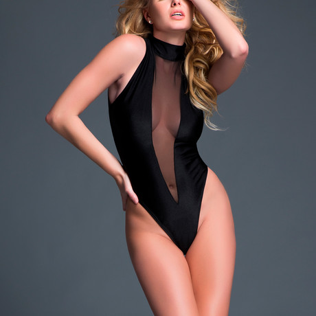 Tia Whisper To Me Sheer Sleeveless Bodysuit + Plunging Front // Black (S)