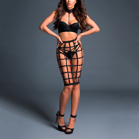 Leia Luscious Cage Skirt + Provocative Lace Bra // Black (S)