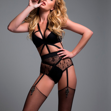 Freya Angel Of Love Lace Teddy // Black (S)