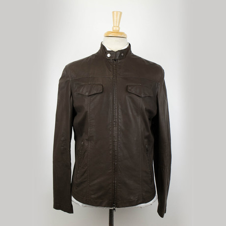 Brunello Cucinelli // Men's Leather Zip-Up Field Jacket // Brown (Euro: 48)