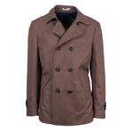 Brunello Cucinelli // Men's Cotton-Silk Peacoat Jacket // Brown (Euro: 50)