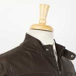 Brunello Cucinelli // Leather Zip-Up Field Jacket // Brown (Euro: 52)