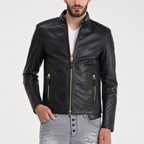 Wyatt Leather Jacket // Black + Gold