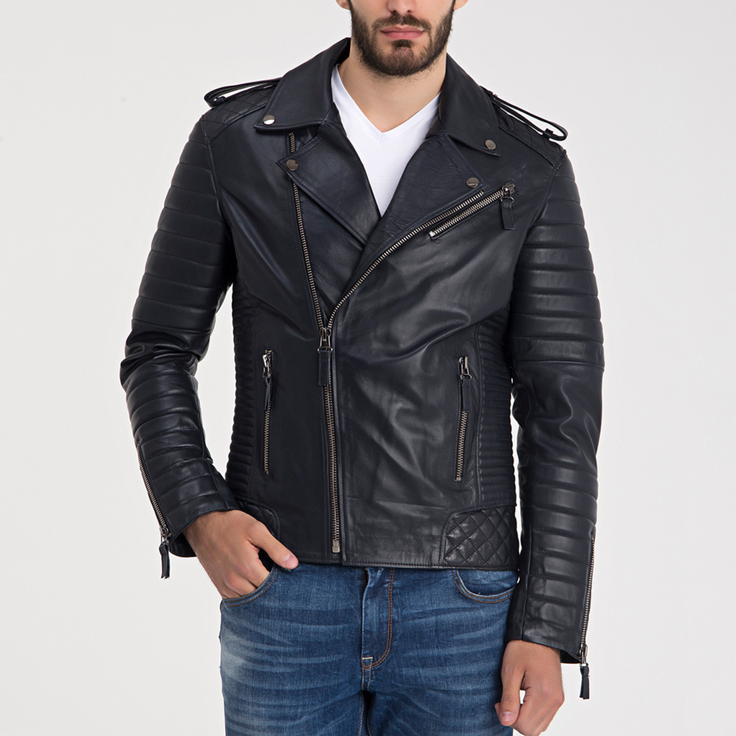 Beckett Leather Jacket Navy Blue S Iparelde Touch Of Modern