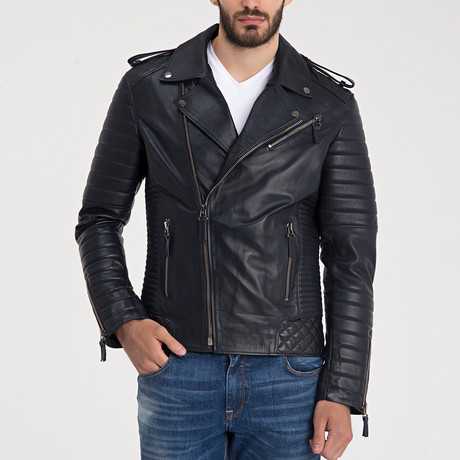Beckett Leather Jacket // Navy + Blue