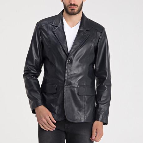 Elijah Leather Jacket // Navy + Blue