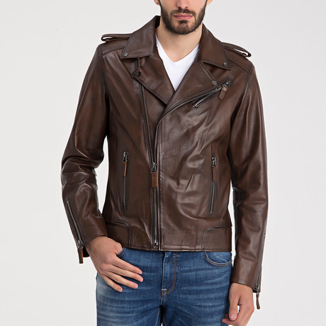 Carter Leather Jacket // Brown Tafta (S)