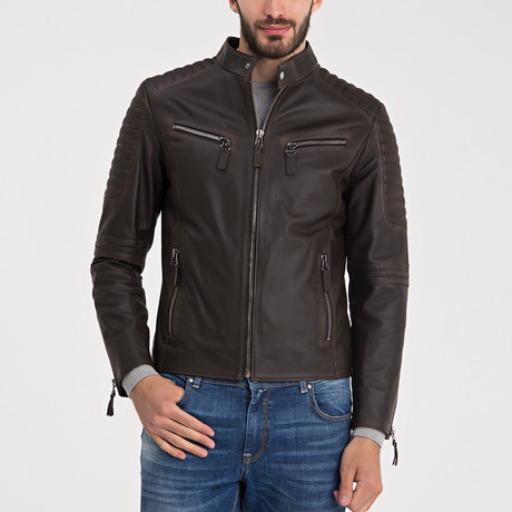 Arlo Leather Jacket // Brown Tafta (S)