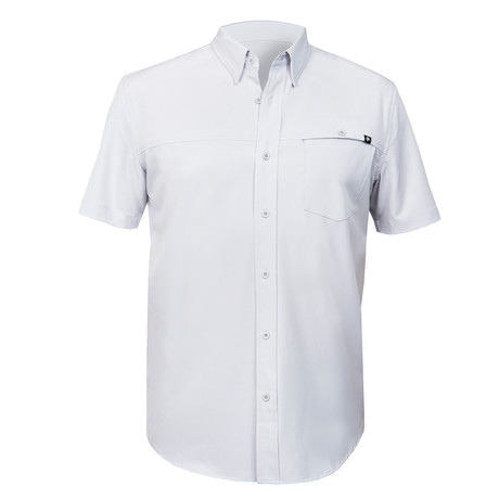 Magnate Solid Woven Shirt // Silver (S)