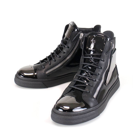 Giuseppe Zanotti // London Vernice Hi-Top Sneakers // Black (US: 6)