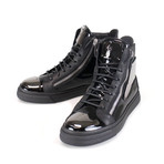 Giuseppe Zanotti // London Vernice Hi-Top Sneakers // Black (US: 7.5)