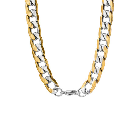 Linear Cut Curb Link Necklace // Yellow + White