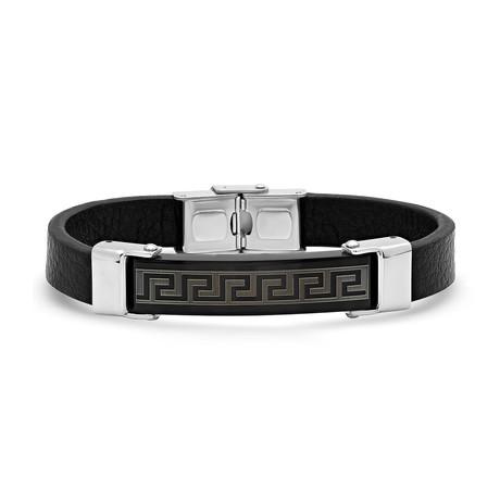 Greek Key Accent // Black Leather Bracelet + Black IP