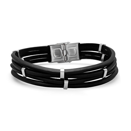 Black Leather Layered Bracelet // Stainless Steel Accents + Clasp