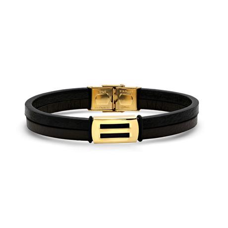 Leather + Gold Accent Bracelet // Black + Metallic