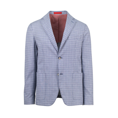 Pal Zileri // Cotton Blend Unstructured Checkered 2 Button Sport Coat // Blue (US: 48R)
