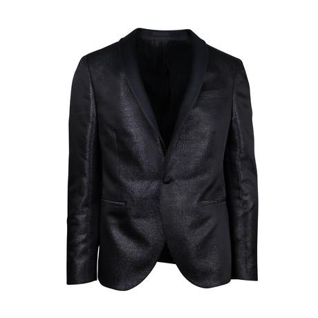 Polyester 1 Button Tuxedo Sport Coat // Black