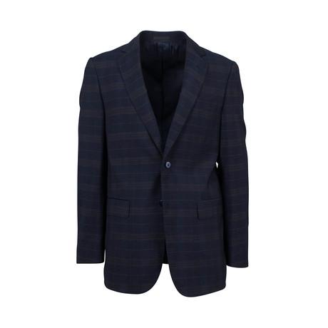 Plaid Wool Blend 2 Button Sport Coat // Blue