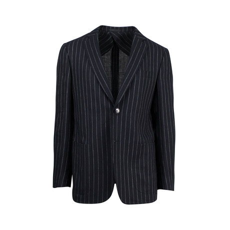 Pal Zileri // Striped Linen Blend 2 White Button Sport Coat // Black (US: 46R)
