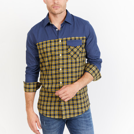 Irving Button-Up // Yellow + Navy Check (S)