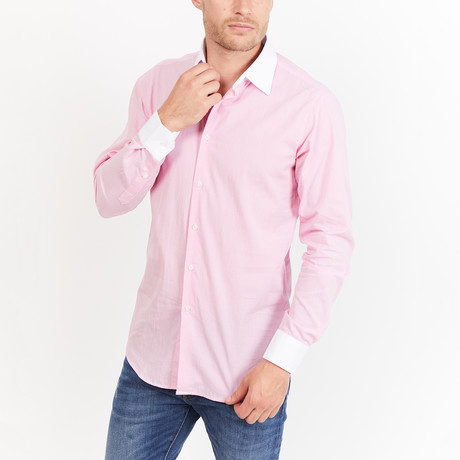 Garret Button-Up // Pink + White (L)
