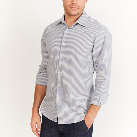 Gerald Button-Up // Gray + Blue + White (S)