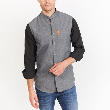 Joey Button-Up // Gray + Black