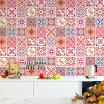 Moroccan Rose Red Mosaic // Wall Sticker