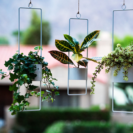 Upright Hanging Planter // Set of 2 // Small (Glossy White)