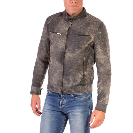 Hamilton Lamb Leather Biker Jacket // Safari (Euro: 46)