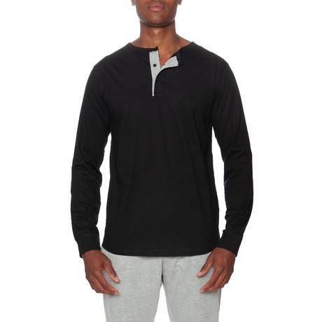 Long Sleeve Lounge Henley + Contrasting Piping // Black + Gray (S)