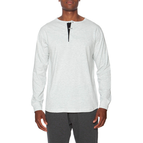 LS Lounge Henley + Contrasting Piping // White + Black