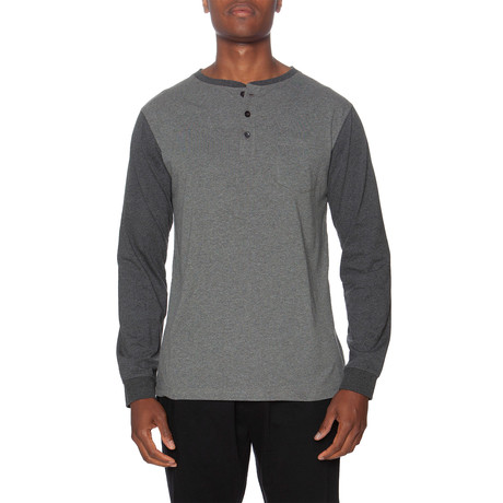 LS Pocket Baseball Henley // Dark Gray + Medium Gray