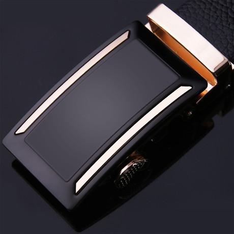 Bold Adjustable Buckle Leather Belt // Black + Gold
