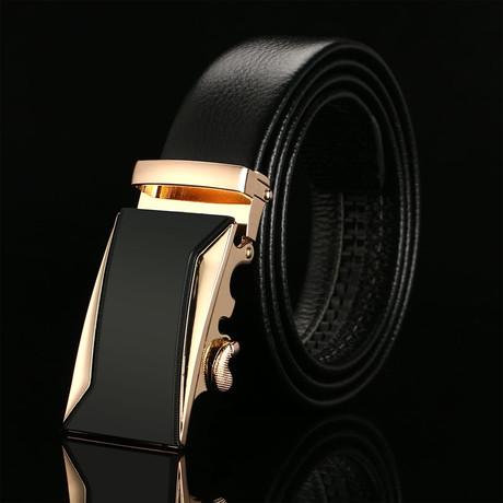 Picket Adjustable Buckle Leather Belt // Black + Gold